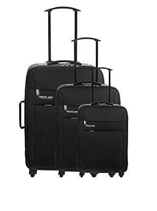 Travel ONE Set de 3 trolleys semirrígidos Canaria Negro