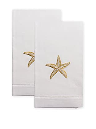 Henry Handwork Set of 2 Golden Starfish Embroidered Hand Towels, White