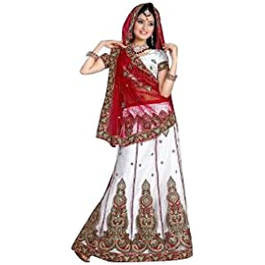 Red and Off White Net Lehenga Style Saree with Blouse