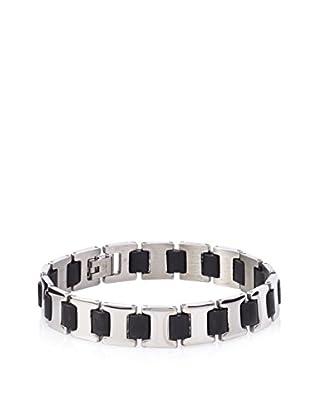 STEELTIME Black Rubber & Stainless Steel Bracelet