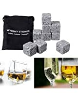 9Pcs Whiskey Ice Stones Granite Drinks Cooler Cubes Scotch Rocks Freezer Pouch