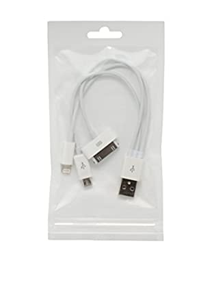 UNOTEC Cable USB 3 In 1 30Pin - 8Pin - MicroUSB Blanco