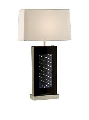 Nova Phantom LED Table Lamp, Black Glass/Brushed Aluminum
