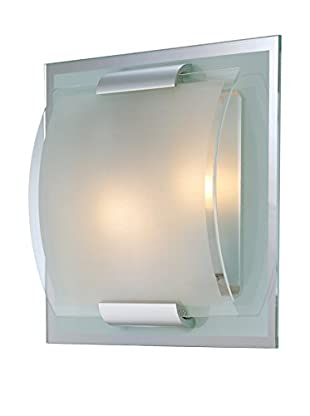 Lite Source Delano 2-Light Wall Sconce, Mirror/Frosted/Clear