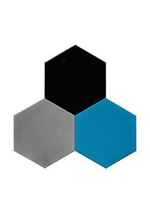 Nine6 Design Set of 3 Magnetic Dry Erasable Wall Panels, Turquoise/Black/Silver