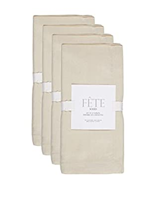 KAF Home Set of 4 Solid Napkins, Flax