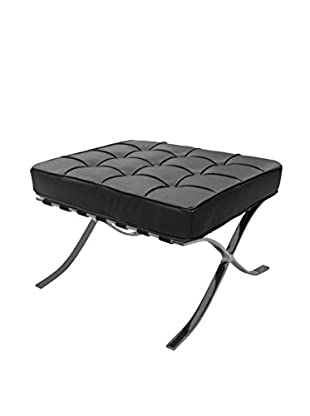 Furniture Contempo Barry Ottoman, Black/Stainless Steel