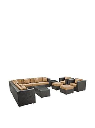 Modway Cohesion 11-Piece Outdoor Patio Sectional Set (Espresso/Mocha)