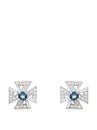 My Silver Pendientes Ideal Azul Zirconium