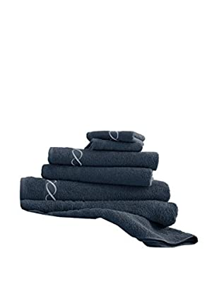 Luxury Home 6-Piece Egyptian Cotton Embroidered Chain Towel Set, Sapphire