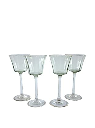Set of 4 Gold Rim Mint Green Wine Glasses, Green/Gold
