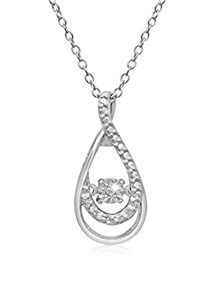 FireFacet Shimmering Stars Collection Diamond Halo Teardrop Necklace