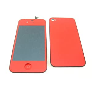 Apple iPhone 4G Verizon CDMA, Red Full LCD Screen Display, Touch Screen Digitizer Front Glass Plastic Lens Part Assembled Together, Full Plastic Glass Back Battery Cover Door Case Housing Fascia Plate Panel, Mobile Phone Repair Parts Replacement