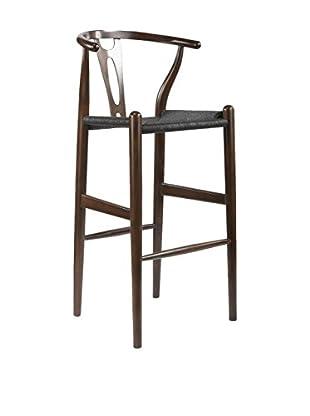 Baxton Studio Mid-Century Modern Wishbone Wood-Y Stool, Dark Brown/Black