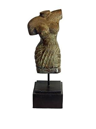 Asian Loft Bronze Female Torso Sculpture on Stand, Bronze/Black