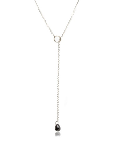 Catherine Angiel 14K White Gold Black Diamond Lariat Necklace