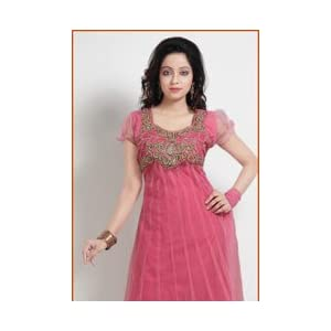 Pink Net Anarkali Churidar Suit