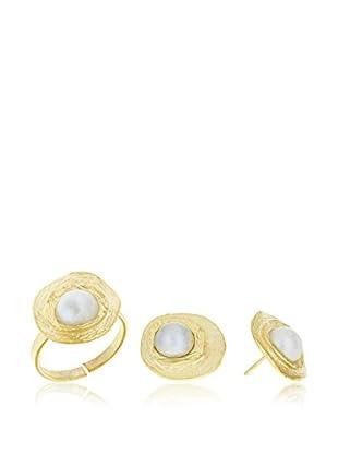 Córdoba Jewels Conjunto de anillo y pendientes plata de ley 925 milésimas bañada en oro