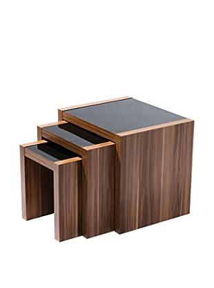 Premier Houseware  Couchtisch 3er Set 2401939 braun