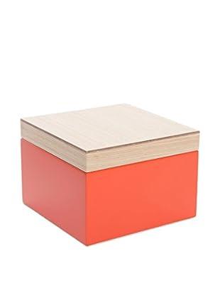 Wolf Designs Small Lacquer Wood Jewelry Box, Orange
