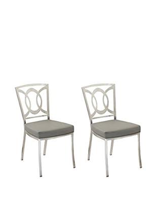 Armen Living Set of 2 Drake Modern Dining Chairs, Grey