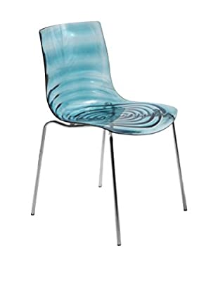 LeisureMod Astor Modern Dining Chair, Transparent Blue