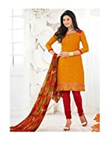 Saara Orange And Red Embroidered Dress Material - 148D6014
