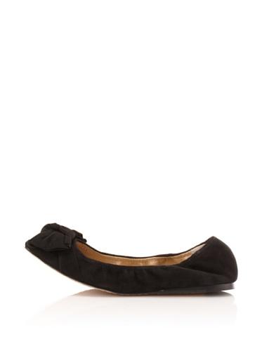 Adrienne Vittadini Women's Mandy Suede Ballet Flat (Black)