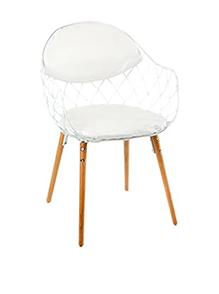 LUXURY GLAM Hogar Silla 56X54X82 Metal Blanco/Madera Natural Blanco