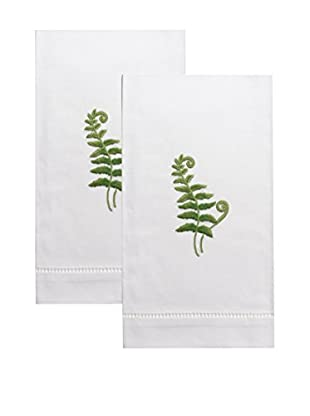 Henry Handwork Set of 2 Fern Fronds Embroidered Hand Towels, White