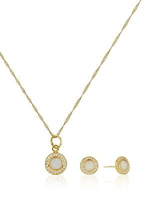 Córdoba Joyeros Conjunto de cadena, colgante y pendientes Royal Zirconium Oro