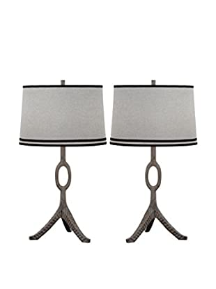 Safavieh Set of 2 The Packwood Table Lamps, Grey