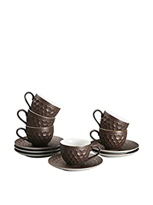 ZINGS Kaffeetasse mit Untertasse 6 tlg. Set braun