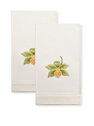 Henry Handwork Set of 2 Catherine Orchid Embroidered Hand Towels, Ivory