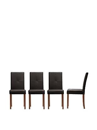 Baxton Studio Set of 4 Curtis Dining Chairs, Dark Brown