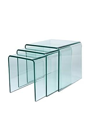 Lo+deModa Set Mesa De Centro 3 Uds. Glass Coffee Transparente