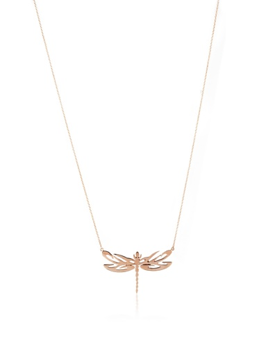 Catherine Angiel Rose Gold Dragonfly Pendant Necklace