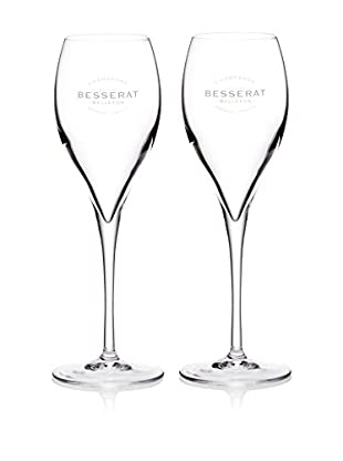 Europe2You Found Set of 2 Etched Champagne Flutes, Clear