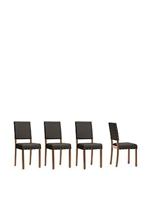 Baxton Studio Set of 4 Walter Dining Chairs, Dark Brown