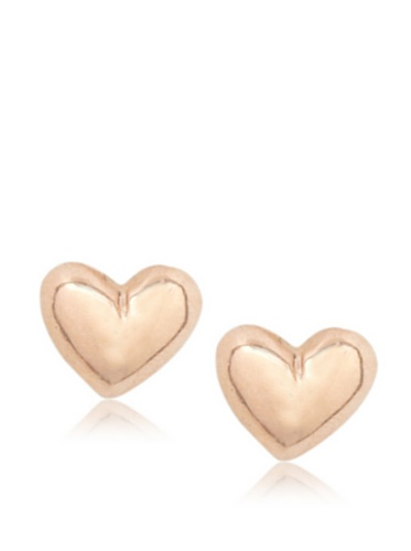 Catherine Angiel Rose Gold Small Puff Heart Stud Earrings