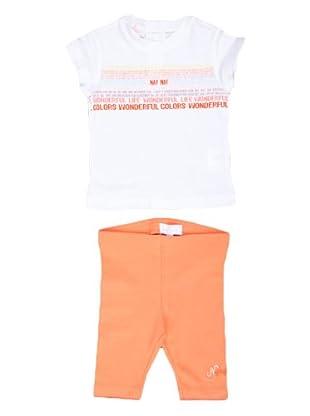 Naf Naf Chevignon Conjunto pantalón / camiseta Strass (blanco / naranja)