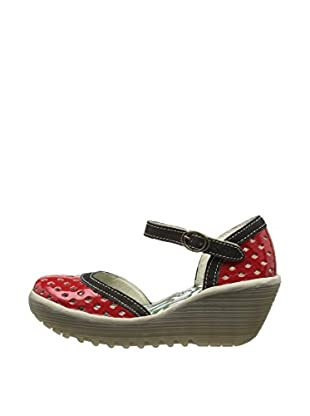 Fly London Zapatos Yana Perf (Rojo Intenso / Negro)