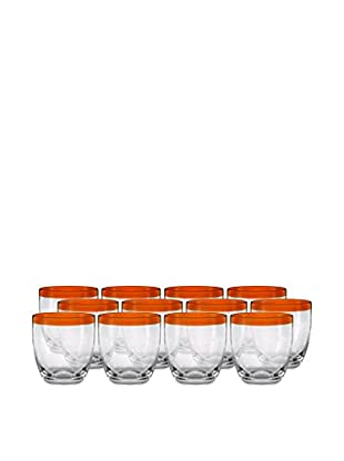 Artland Festival Set of 12 Double Old Fashioned Glasses, Tangerine
