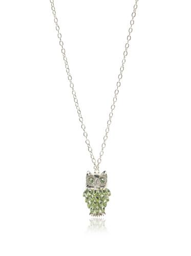 Tuleste Market Owl Pendant Necklace, Silver/Seafoam