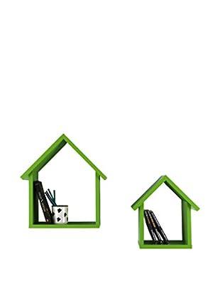 Decortie Estantería De Pared 2 Piezas Homey Verde