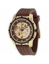 Akribos Automatic Gold-Tone Skeleton Dial Brown Rubber Mens Watch Ak444Yg