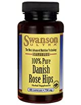 100% Pure Danish Rose Hips 750 mg 60 Caps by Swanson Ultra