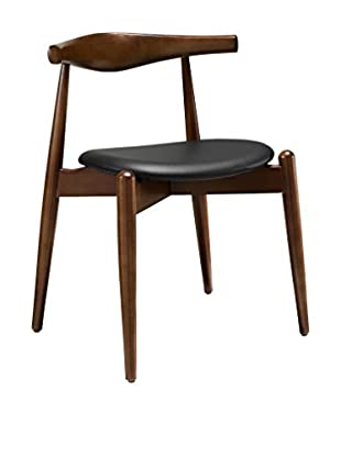 Modway Stalwart Dining Side Chair, Dark Walnut/Black