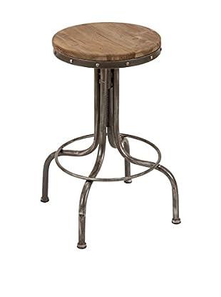 UMA Metal & Wood Bar Stool, Brown