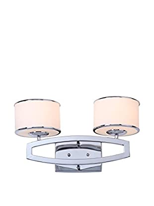 Safavieh Lenora Double Drum Sconce, Etched White/Chrome